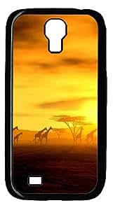 Sunset And Giraffe PC Hard Case Cover for Samsung Galaxy S4 / Samsung Galaxy I9500 Black