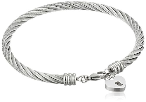 Cable Heart Lock Charm in Stainless Steel Bangle Bracelet, 2.75