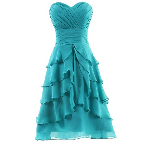 Dresstells® Women's Sweetheart Knee-length Chiffon Short Bridesmaid Dress Under 100 Size 6 Blue