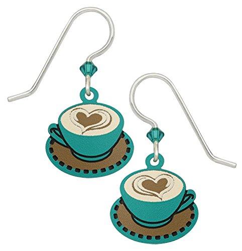 Sienna Coffee - Sienna Sky Aqua Tan Cappuccino Coffee Cup Earrings 1943