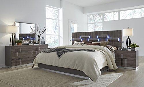 Global Furniture ADEL (119A)-QB Bed, Grey High Gloss & Zebra Wood, Queen