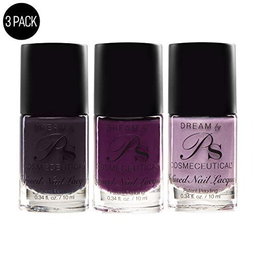 PS Polish Pedi Collection Nail Polish Sets - Antifungal & Vegan Nail Enamel - Quick Dry Nail Polish - Salon Grade Nail Lacquer - Ethereal, Sugar Plum, Intuition - 3 Pack Set, 0.34 Fl.Oz, MSRP $44.97