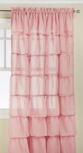 Lorraine Home Fashions Gypsy Shabby Chic Layered Ruffle Window Curtain Panel, 60 by 84-Inch, Pink