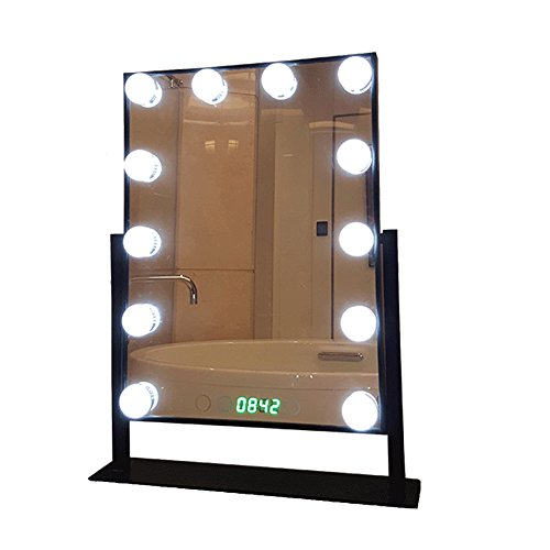 Geek-House Tabletops Lighted Makeup Mirror Hollywood Style with LED Bulb & Dimmer & Clock USB Powered Valentine's Day Gift Black by GeekHouse (Image #1)
