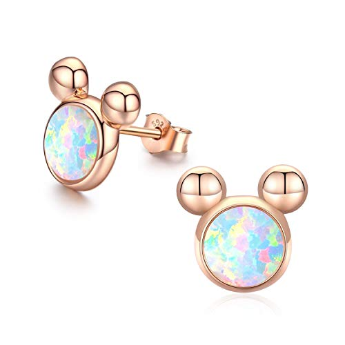 Cuoka Mouse Earrings Mouse Gifts for Adult Mouse Jewelry Sterling Silver Opal Earrings for Women Girls (B-Rose Gold)