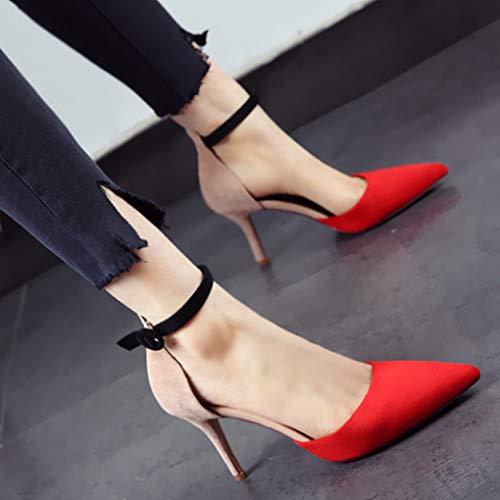 Altos del Mezclados YMFIE Partido Europeo Estilo del de la la del Colores de los B con Tacones del Dedo Manera Atractiva Zapatos Zapatos pie Banquete de Finos Cabeza qSSZxf5w