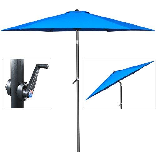 Sonnenschirm Ø 200cm mit Kurbel und Neigevorrichtung - Kurbelschirm Gartenschirm blau