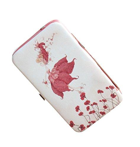 (HeySun Women's Cartoon Giraffe Phone Pocket Wallet Box with Big Money Clip (White+Rose))