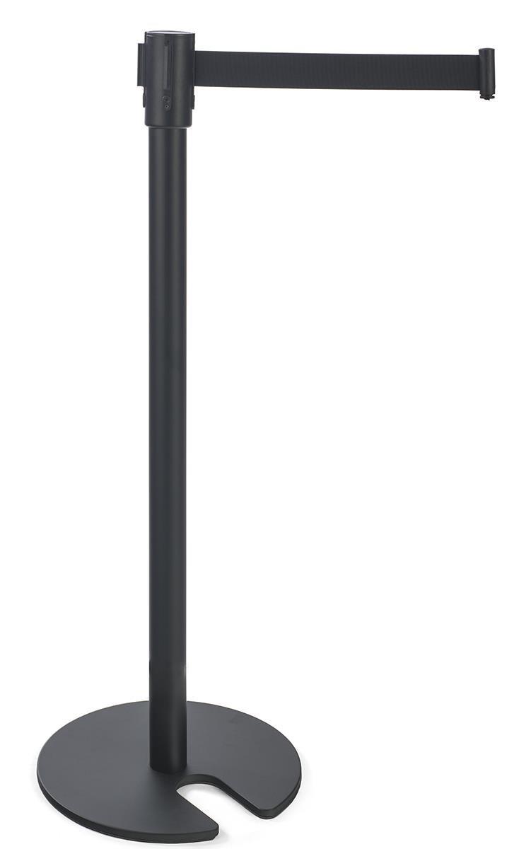 Set of 2- Crowd Control Stanchion, 6.5-Foot Retractable Belt, 4-Way Adapter, Stackable (Black Steel)