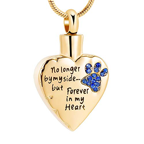 memorial jewelry No Longer by My Side,But Forever in My Heart Carved Locket Cremation Urn Necklace for Pet Dog Cats (Gold-Blue)