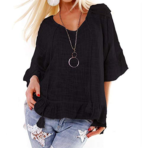 Respctful ♫♫Women Casual Ruffle Pleated T-Shirt, Womens Casual Cotton Linen Solid Long Sleeve Loose V Neck Tops Blouse