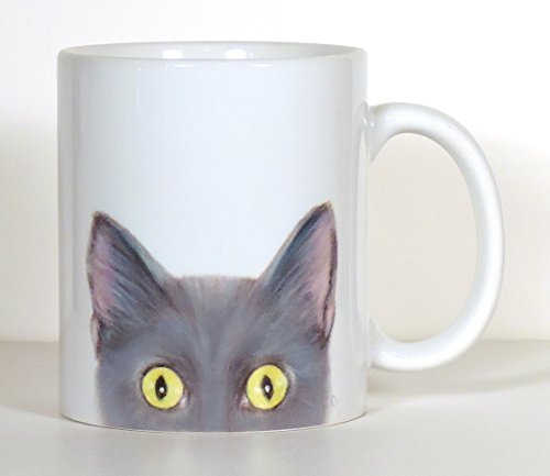 Cat Mug, Gray Cat Mug, Personalized Cat Gift,