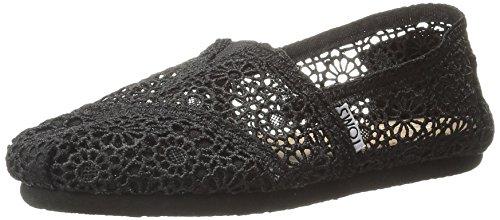 TOMS Women's Classics Crochet Espadrille Pumps US5 Black (Crochet Toms Shoes Womens)