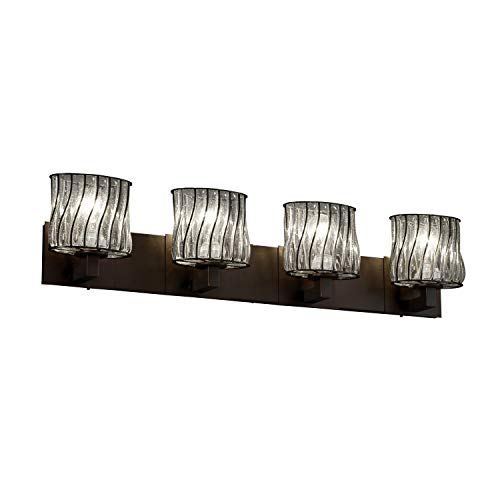 Justice Design Group Wire Glass Modular 4-Light Dark Bronze Bath Bar, Swirl with Clear Bubbles Oval Shade