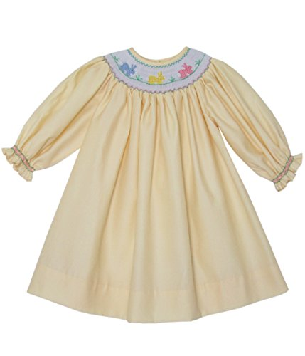 Hand Smocked Yellow Girls Bishop Dress with The Easter Bunny and Long Sleeves