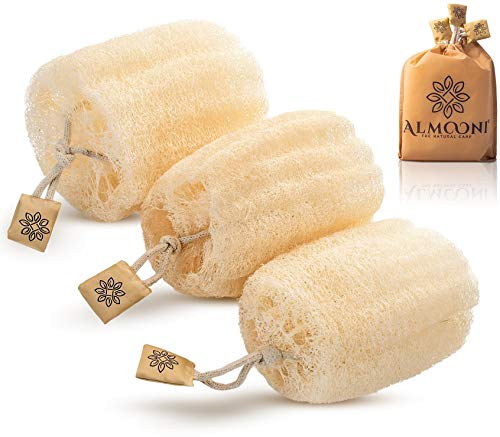 Premium Natural Egyptian Shower Loofah Sponge, Large Exfoliating Shower Loofa Body Scrubbers Buff Away Dead Skin for Smoother, More Radiant Appearance (3 lufa Pack)