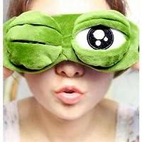 United Lethargics 3D Cartoon Frog In Soft Velvet Sleep Mask For Unisex - Green