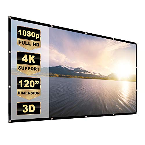 Yome 120 Inch Projector Screen, 16:9 HD Anti-Crease Indoor Outdoor Foldable Portable Movie Screen Support Double Sided Projection for Home Office Travel Party, 4K, 3D, White