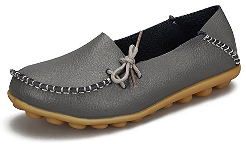 Zapatillas De Conducción Para Mujer Joansam Mocasines Con Cordones De Cuero De Vaca Zapatos Para Barcos Planos Gris