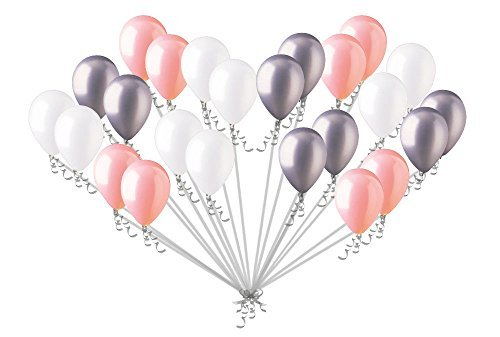 24 pc Chic Coral White Silver Latex Balloons Party Decoration Birthday Baby -