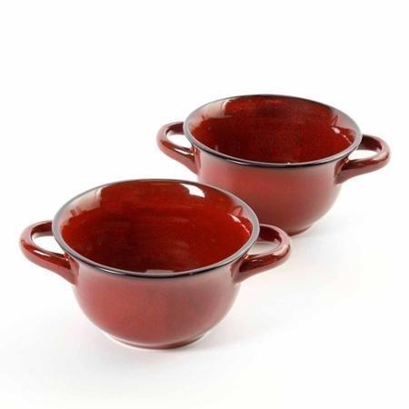 Crockpot 22-ounce Double Handle Soup Bowls, Set of 2 Red