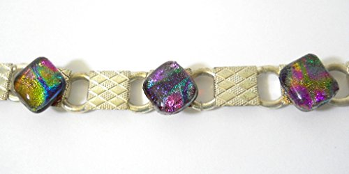 - Dichroic Glass Bracelet with Sterling Silver Plated Base Multiple Colors