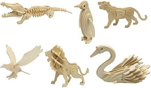DIY 3D Wooden Animal Puzzles | Set of 6 | Crocodile, Eagle, Lion, Penguin, Swan, Tiger