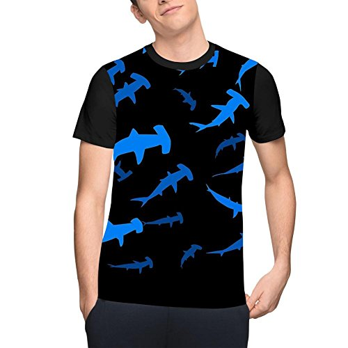 PLSOOS Men's Hammerhead Shark T-Shirt Fashion ComfortSoft Crew Neck Short Sleeve Tee