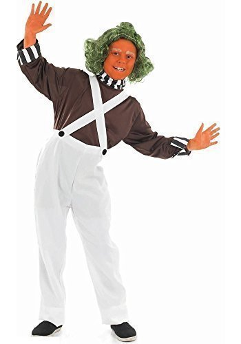 Fancy Me Big Boys' Oompa Loompa Book Day Halloween Fancy Dres Costume Outfit 10-12 Years White