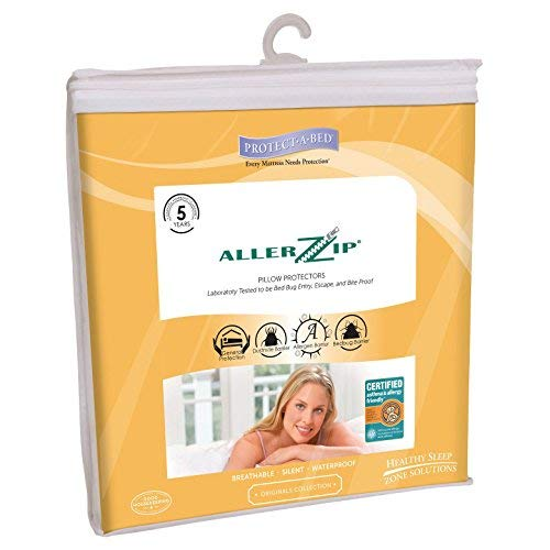 AllerZip Pillow Covers - Block Bed Bugs, Dust Mites, Allergens & Waterproof (2-Pack ()