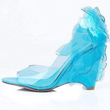 LvYuan Mujer-Tacón Cuña-Confort-Sandalias-Oficina y Trabajo Vestido Informal-PU-Azul Rosa Morado Azul Claro Marrón Café Blue