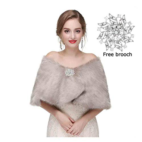 Yfe Women's Faux Fur Shawls Wraps Wedding Fur Stole Shrug Cape For Women 1920 Faux Fur Stole Scarf Fur Capelet Mink (Gray) ()