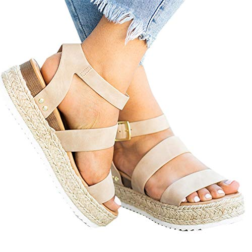 Ymost Womens Wedges Sandal Open Toe Ankle Strap Trendy Espadrille Platform Sandals Flats (9 B(M) US-EU Size 41, Z-Khaki)
