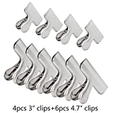 Mobo Chip Bag Clips, 10 Pack Durable Stainless Steel Food Bag Clips for Air Tight Seal Grip on Coffee, Food & Bread Bags, Office Kitchen Home Usage (3 inchx4 & 4.7 inchx6)
