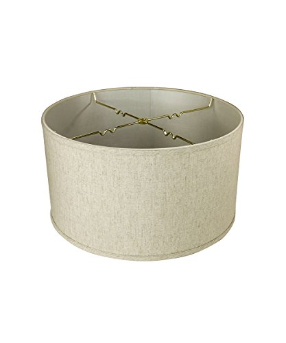 18x18x10 Textured Oatmeal Shallow Drum Lampshade with Brass Spider fitter By Home Concept - Perfect for table and Floor lamps - Extra Large, Off-White