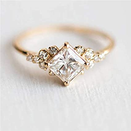 JEWH Geometric Square CZ Rings for Women - Wedding Gold Color Rhinestone Female Finger Rings for