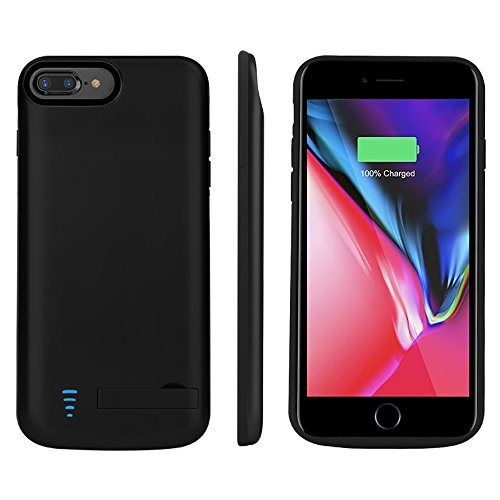 RUNSY iPhone 8 Plus / 7 Plus / 6S Plus / 6 Plus Battery Case, 8000mAh Rechargeable Extended Battery Charging Case, External Battery Charger Case, Backup Power Bank Case, Support Lightning Wired Headphones (New 5.5 inch)