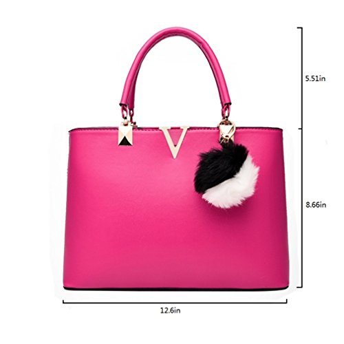 top shoulder bag handle word V purse PU women Red Pahajim leather satchel tote handbags Pn6557