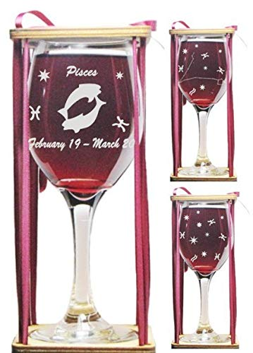 Pisces Astrological Sign 360 Degree Engraved Wine Glass with Charm