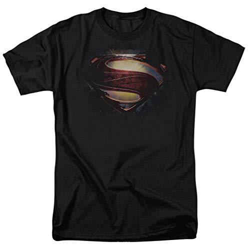 (Popfunk Superman Man of Steel Movie Glowing Shield Black T Shirt (Medium))