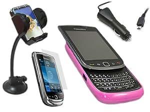 iTALKonline CAR DRIVE PACK ROSA & CLARO TRANSPARENTE ELITE 2 TONOS Hard Soft Case y la piel cubierta de LCD Protector de pantalla, 12/24V Cargador de coche, en el soporte de parabrisas de coches de succión para BlackBerry 9800 9810 Torch