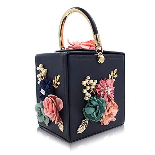 FFLLAS Sacchetto Per La Cena Con Fiore Quadrato Confezione Per Ricamo Con Perla Semplice Fashion Tote,1