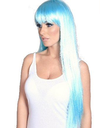 Long Straight White and Teal Wig
