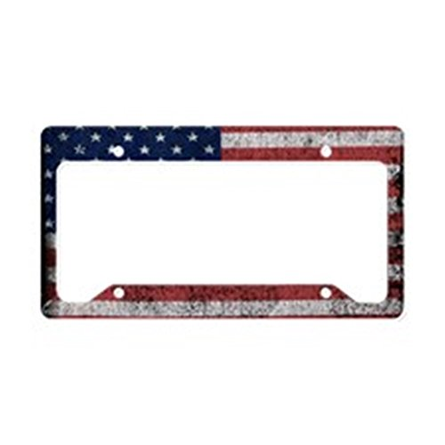 CafePress Distressed-us-Flag License Plate Holder Aluminum License Plate Frame, License Tag Holder