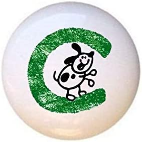 Letter C from The Crayon Kids Alphabet Collection Glossy Ceramic Dresser Drawer Pulls Cabinet Knobs