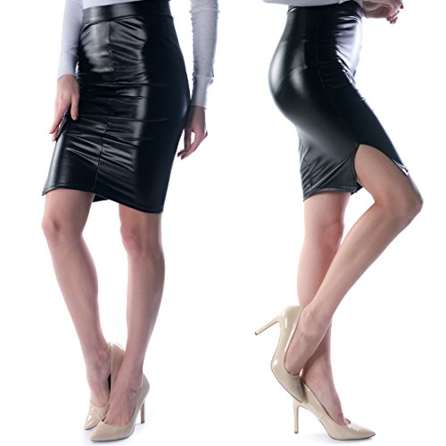 Hot Sexy Faux Leather Mini Skirt Leggings Pants with Elastic Waistband Metallic Shiny Skinny Slim Fit Wet Look Black (M, MINI SKIRT)