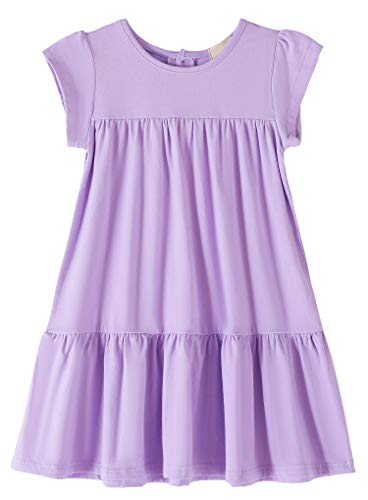 Youwon Toddler Girls Dress Short Sleeve Solid Color Tunic A-Line Tiered Swing Dress 2-6 7-16 -