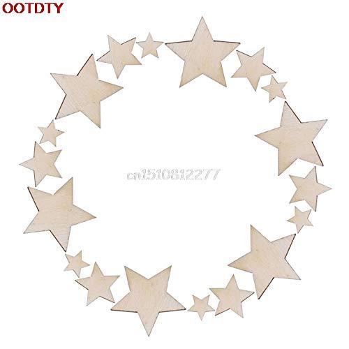 (ZAMTAC 100pcs Wooden Mixed Wood Mini Stars Craft Scrapbooking Wedding Table Decor DIY #H0VH#)