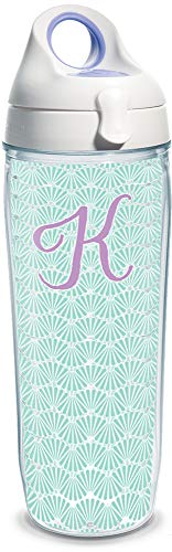 Tervis 1317329 INITIAL-K Teal Scallop Insulated Tumbler with Wrap and Lid, 24 oz Water Bottle - Tritan, Clear ()