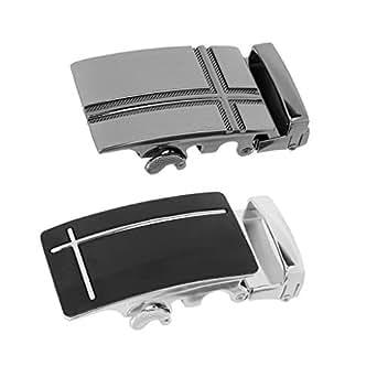 D DOLITY 2x Mens Belt Buckle Automatic Slide Click Buckle Ratchet Belt Buckle, for Black Leather Belt, Fashion and Durable